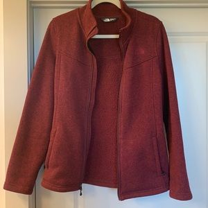 Burgundy The North Face zipper jacket